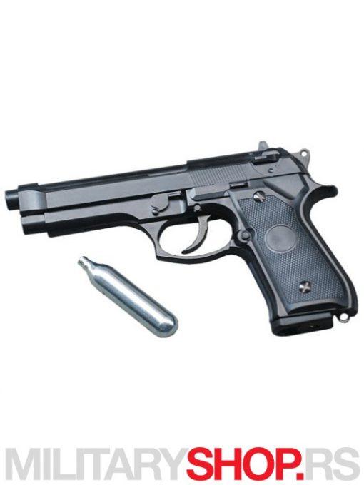 Replika pistolja Mehanicki airsoft pistolj CO2 HW Crni & Srebrni