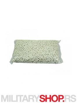 Plastične bele kuglice za airsoft 0,12 g u pakovanju od 1 KG