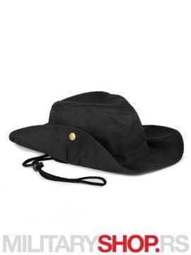 Safari pamučni šešir crne boje sa učkurom