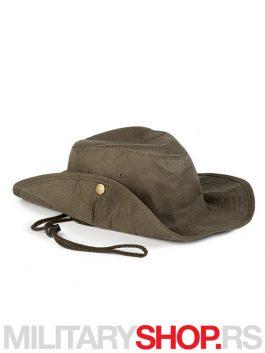 Pamučni šešir sa učkurom zelene boje Safari