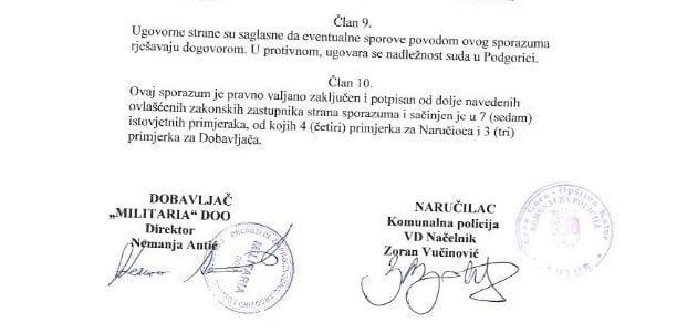 Komunalna policija grada Kotora i Militaria doo potpisali ugovor o javnoj nabavci