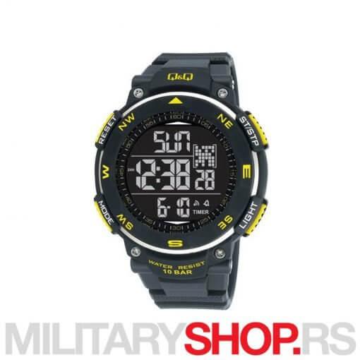 Q&Q Muški digitalni ručni sat crni sa žutim M124J804Y