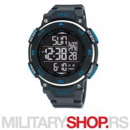 Q&Q Muški digitalni ručni sat crni sa plavim M124J801Y