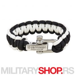 PENTAGON SURVIVAL BRACELET PRO BLACK AND WHITE