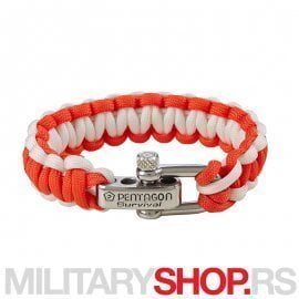 PENTAGON SURVIVAL BRACELET PRO WHITE AND RED