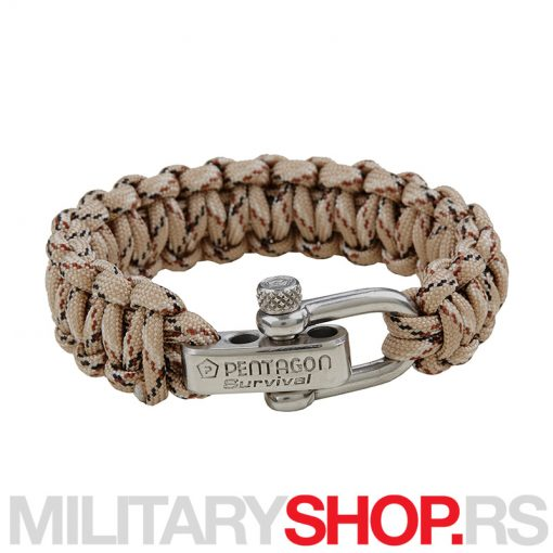 PENTAGON TACTICAL SURVIVAL BRACELET KHAKI SPOT