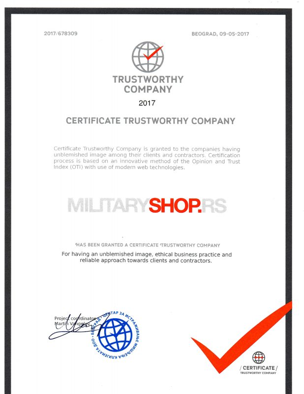 Sertifikat firma od poverenja Military shop