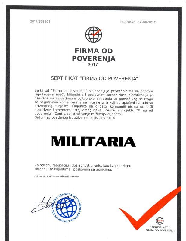 Sertifikat firma od poverenja Militaria doo