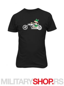 Crna pamucna majica stampa Serbian biker