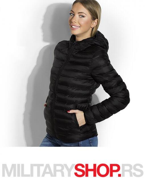 Crna zenska jakna sa kapuljacom