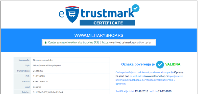 etrustmark sertifikat