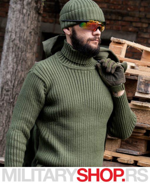 Army džemper sa kragnom maslinasto zelena boja