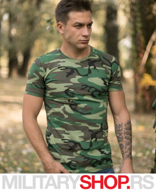 Maskirna pamučna majica Woodland vojna šara