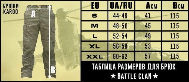 Tabela sa merama pantalona