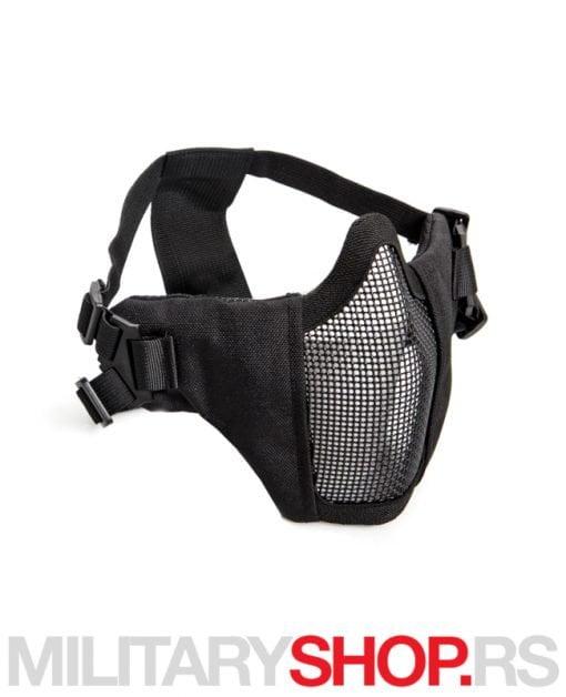 Airsoft maska od metala i platna crna boja