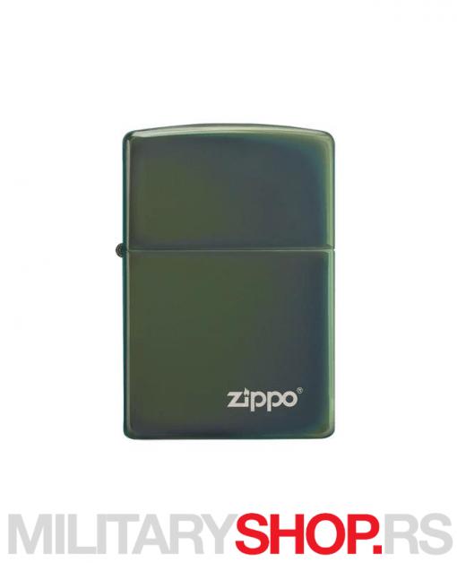 Metalik-zeleni Zippo upaljač s logom