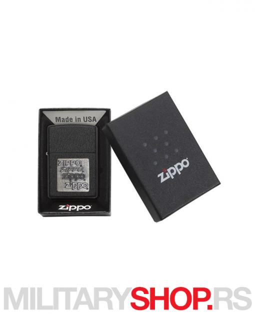 Zippo crni upaljač sa bronzanim logom
