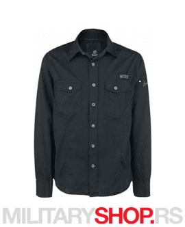 Strukirana pamučna košulja Brandit Slim Fit Crna