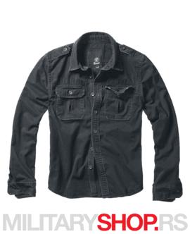 Pamučna košulja dugih rukava Brandit Vintage crna