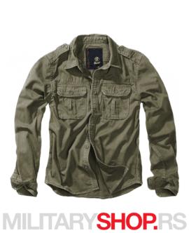 Pamučna muška košulja Brandit Vintage zelena