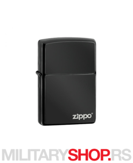 Zippo logo upaljač crni Ebony Lasered