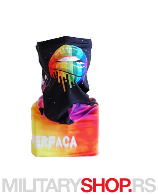 Crna bandana Superfaca Rainbow Kiss