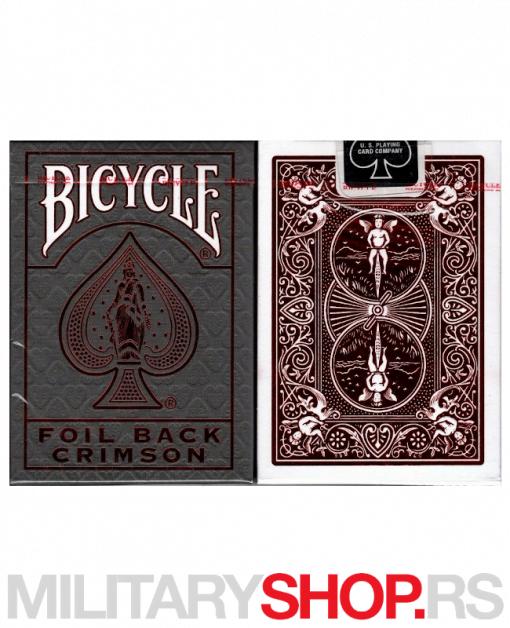 Karte za igranje Bicycle MetalLux Crimson