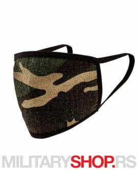 Zaštitna pamučna maska Woodland maskirna šara
