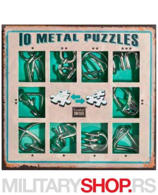 Zeleni set od 10 metalnih mozgalica