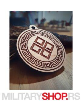 Srpske Rune - Drveni Privezak Dajbog