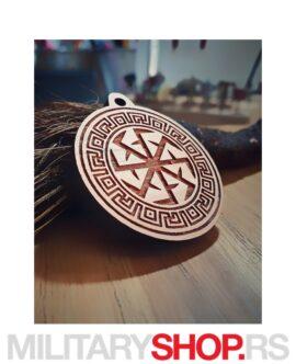 Srpske Rune – Drveni Privezak Kolovrat