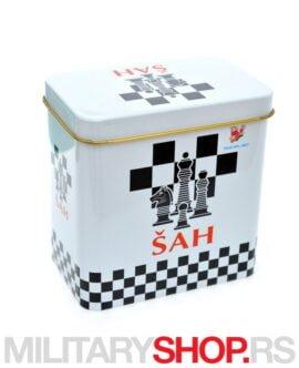 Set za šah u limenoj kutiji