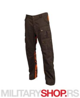 Lovačke pantalone braon sa fluo detaljima K88