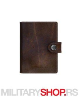 Braon kožni novčanik i lampa LedLenser