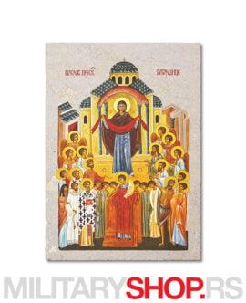 Pokrov Presvete Bogorodice ikona na kamenu