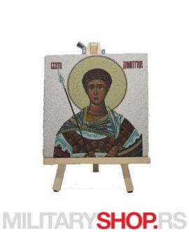 Ikona Svetog Dimitrija na kamenu +štafelaj