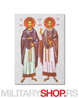 Sveti Kozma i Damjan ikona na kamenu