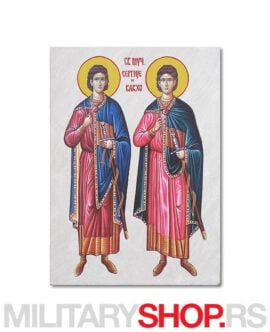 Ikona na kamenu Svetih Sergija i Vakha