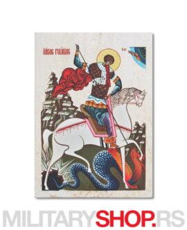 Ikona na kamenu Sveti Đorđe ubija aždaju