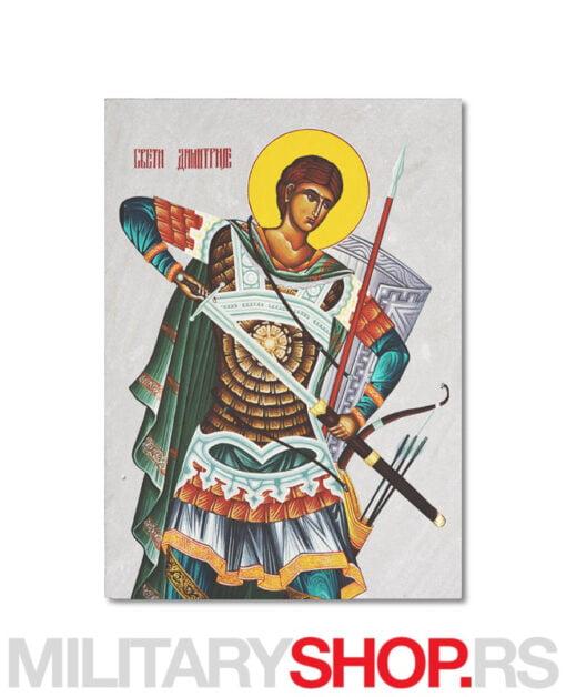 Ikona Svetog Dimitrija izrađena na kamenu