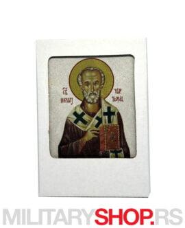 Ikona Svetog Nikole na kamenu +štafelaj