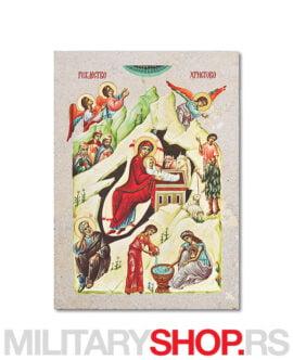 Božić ikona na prirodnom kamenu