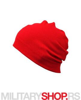 Zimska kapa crvene boje od pamuka