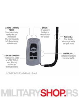 Sredstvo za samoodbranu Elektrošoker, Alarm i Lampa sive boje