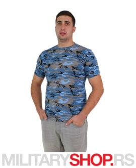 Kamuflažna pamučna majica plava Blue Sea