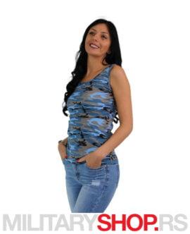 Ženska majica na bretele plava maskirna