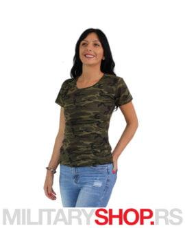 Ženska majica V izrez maskirna Woodland
